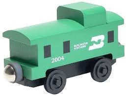 Whittle Shortline Railroad Burlington Northern Caboose Wooden Toy Train