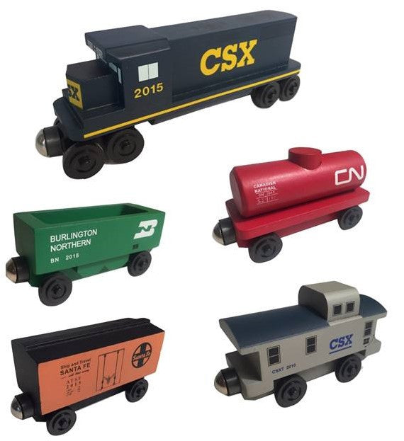 Whittle Shortline Railroad CSX 5 pc. Railway Set Wooden Toy Train