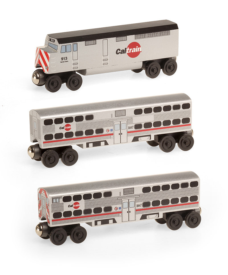 Whittle Shortline Railroad Cal Train F-40 3pc. Set Wooden Toy Train