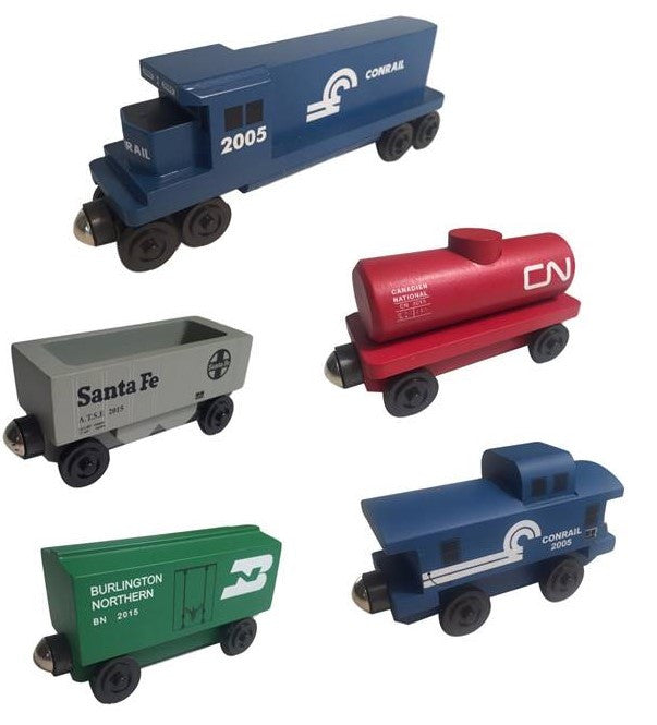 Whittle Shortline Railroad Conrail Railway 5pc. GP-38 Diesel Engine Set Wooden Toy Train