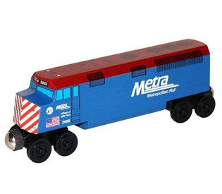 Whittle Shortline Railroad Metra F-40 Diesel Engine Wooden Toy Train
