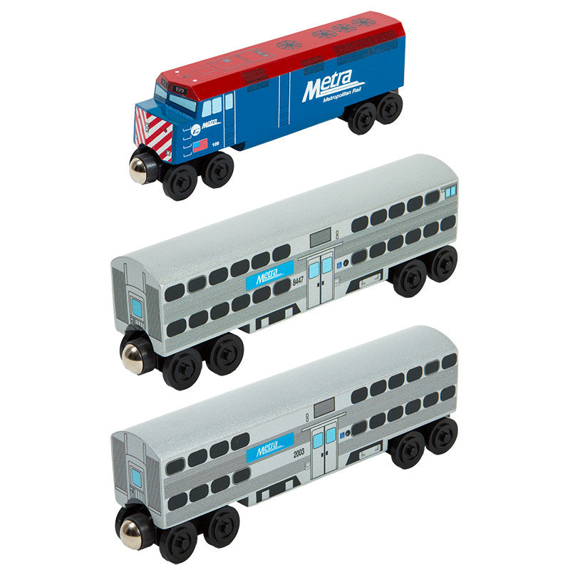 Whittle Shortline Railroad Metra 3 pc. F-40 Set Wooden Toy Train