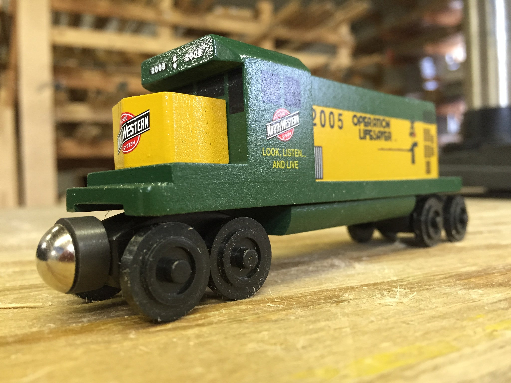 Whittle Shortline Railroad Chicago and Northwestern GP-38 Diesel Engine Wooden Toy Train In The Factory