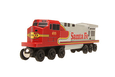 Whittle Shortline Railroad Santa Fe Warbonnet C-44 Diesel Engine Wooden Toy Train
