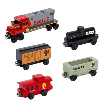 Whittle Shortline Railroad Santa Fe Warbonnet GP-38 5 pc. Diesel Engine Set Wooden Toy Train