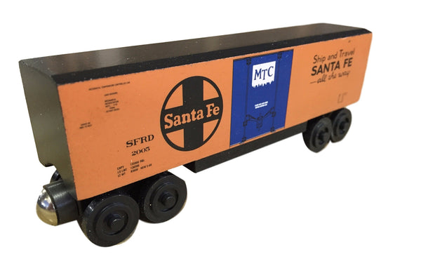 Whittle Shortline Railroad Santa Fe Hi-Cube Boxcar Wooden Toy Train