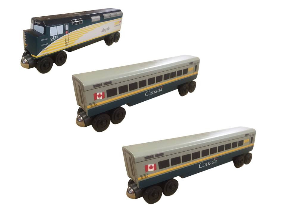Whittle Shortline Railroad VIA Rail Canada 3 pc. Passenger Set Wooden Train Set