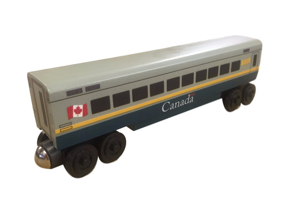 Whittle Shortline Railroad Via Rail Passenger Train Car Wooden Toy Train