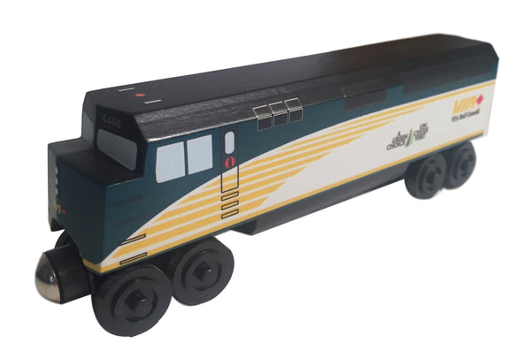 Whittle Shortline Railroad VIA F-40 Engine Wooden Toy Train