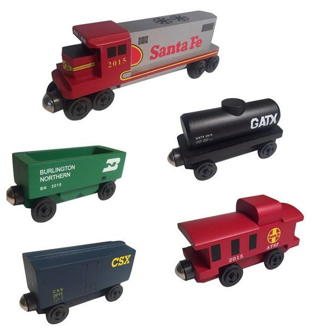 Whittle Shortline Railroad Santa Fe Warbonnet 5 pc. Railway Set Wooden Toy Train