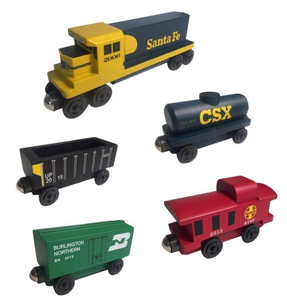 Whittle Shortline Railroad Santa Fe Yellowbonnet GP-38 5 pc. Diesel Engine Set Wooden Toy Train
