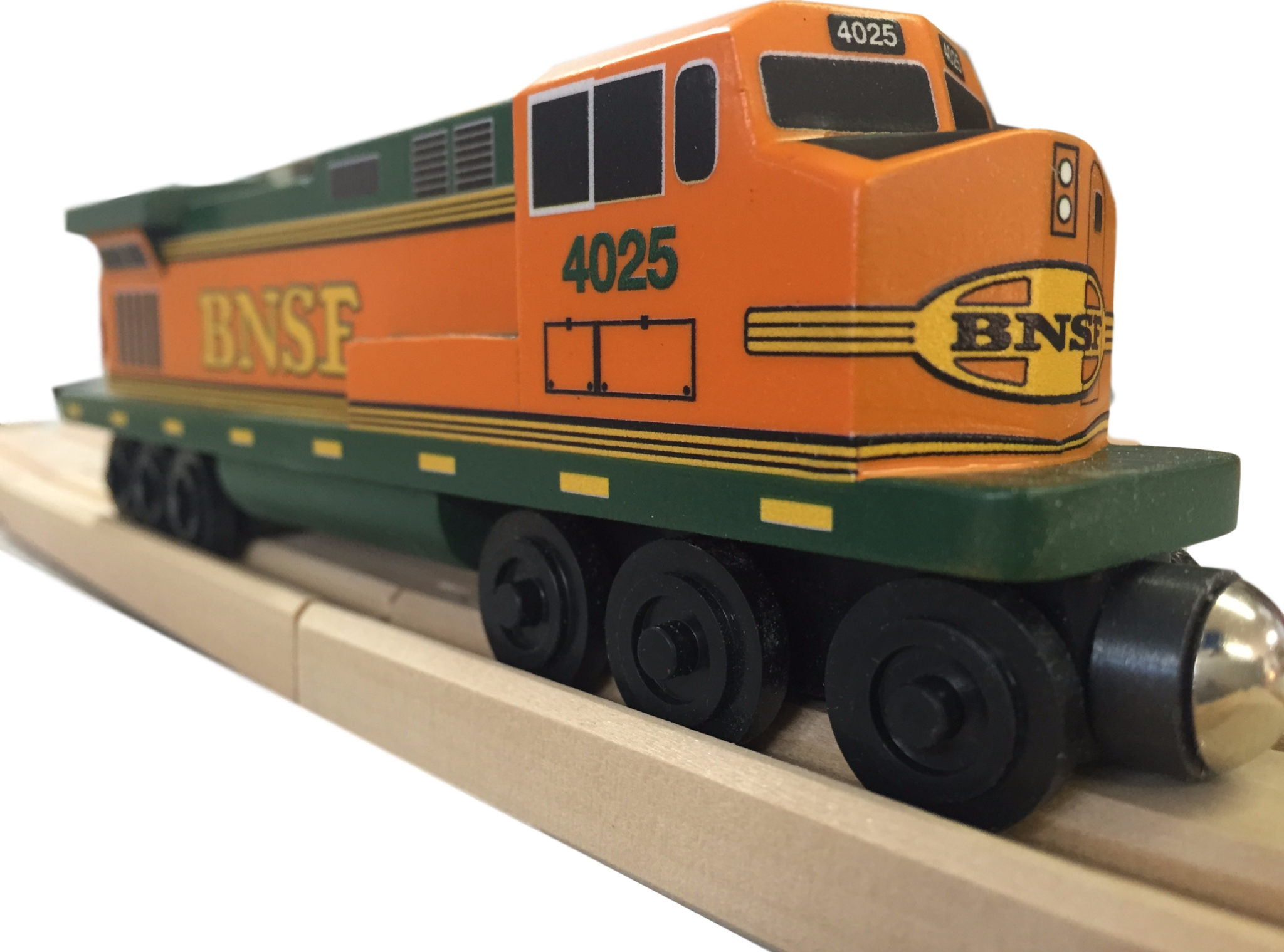 Whittle Shortline Railroad BNSF Pumpkin C-44 Diesel Engine Wooden Toy Train
