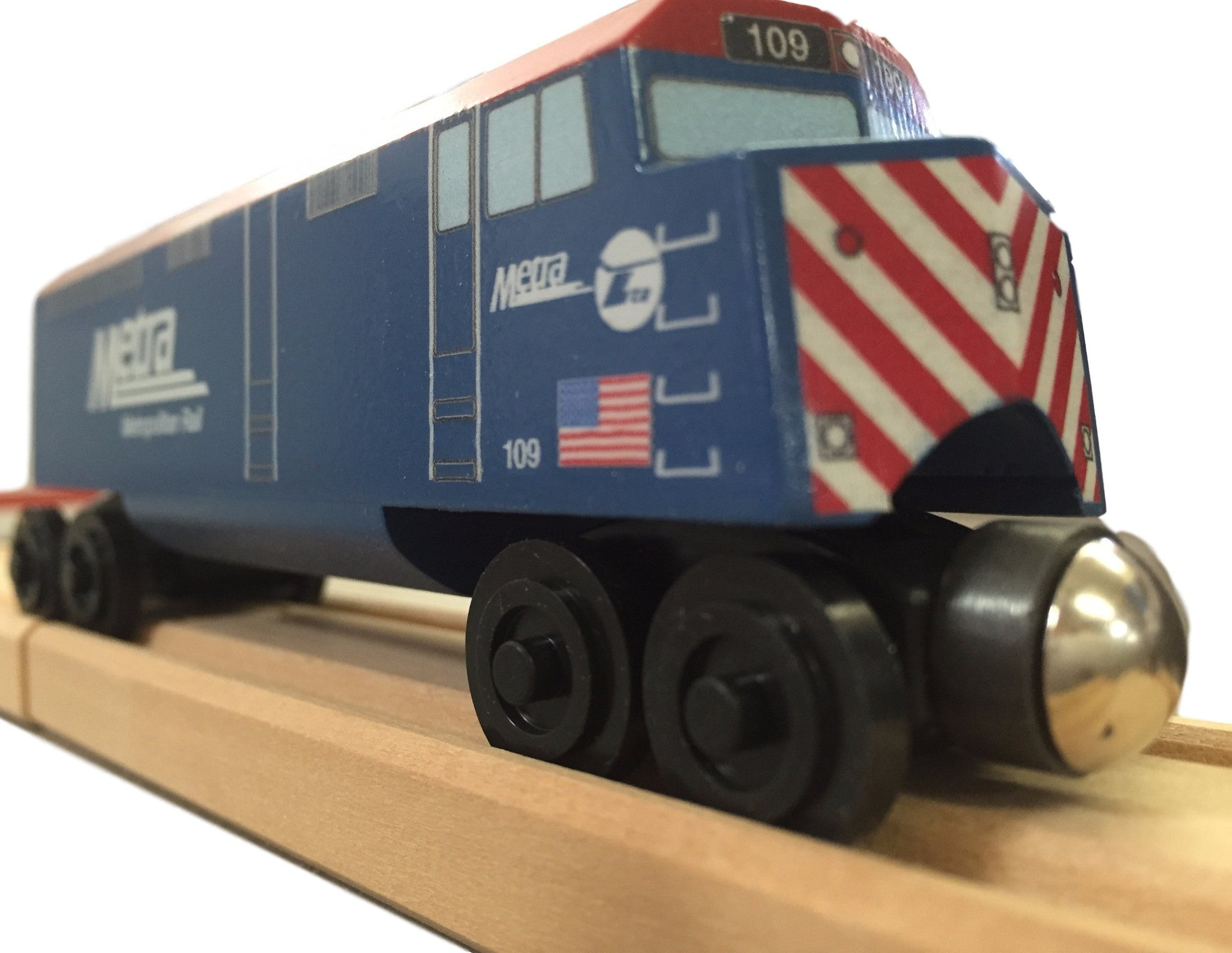 Whittle Shortline Railroad Metra F-40 Diesel Engine Wooden Toy Train on Track