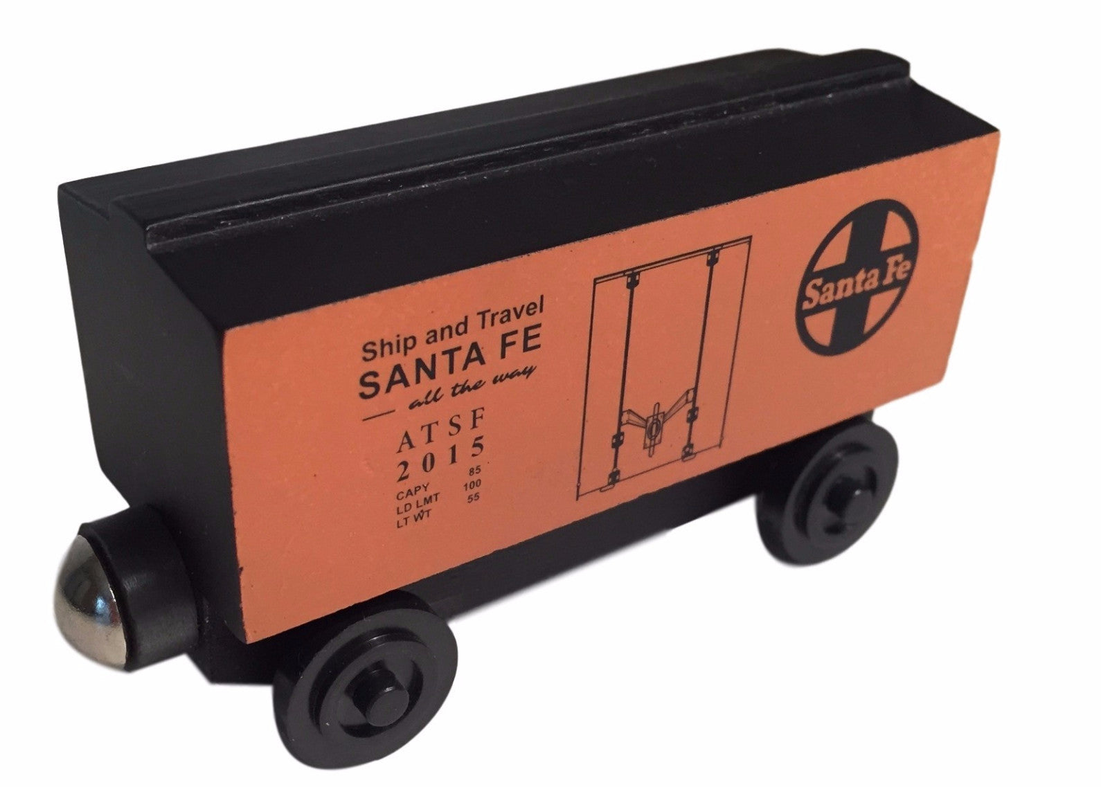 Whittle Shortline Railroad Santa Fe Orange Boxcar Wooden Toy Train