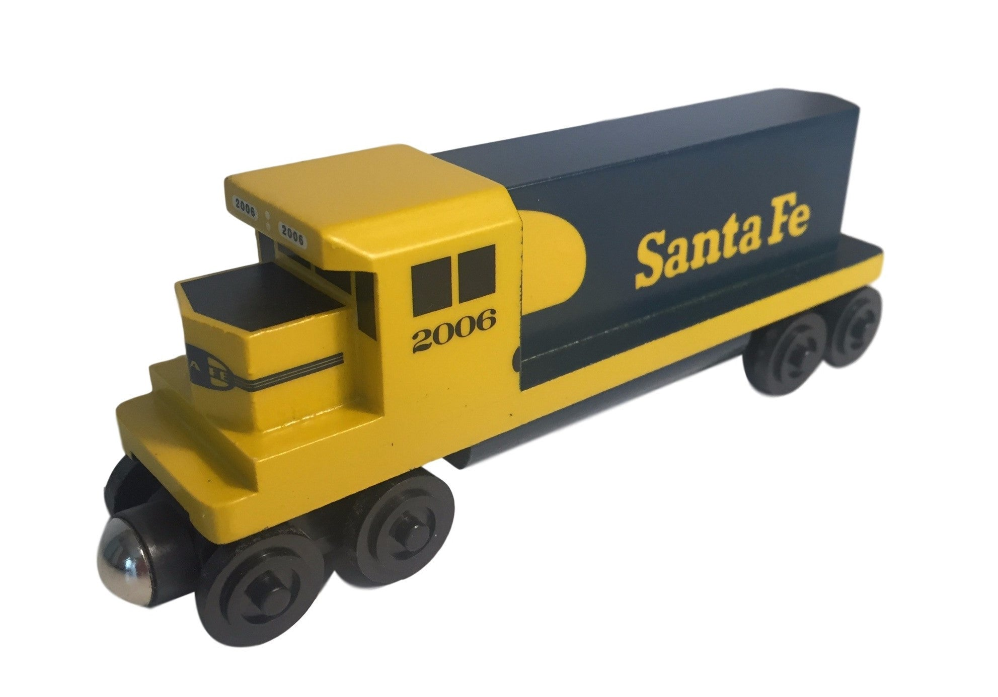 Whittle Shortline Railroad Santa Fe Yellowbonnet GP-38 Diesel Engine Wooden Toy Train