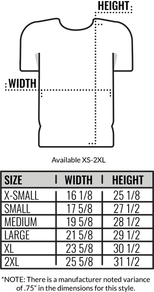 Custom Canvas 3/4 Sleeve T-Shirt Size Chart by Coed Monkey