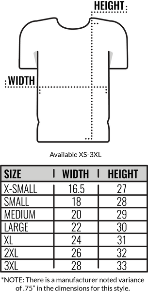 Custom Canvas 50/25/25 T-Shirt Size Chart by Coed Monkey