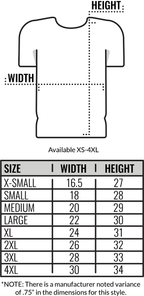 Custom Canvas T-Shirt Size Chart by Coed Monkey