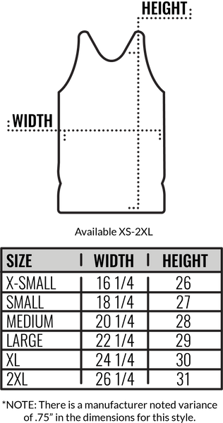Custom Canvas Tank Top Size Chart by Coed Monkey