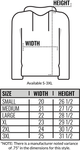 Custom Independent Trading Hooded Sweatshirt Size Chart by Coed Monkey