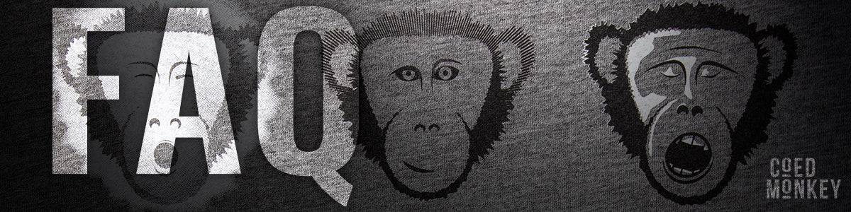Coed Monkey Screen Printing and Promotional Items FAQ page