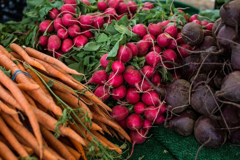 fall produce - carrots radishes and beets