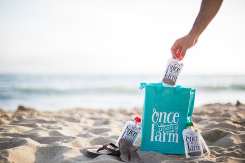 taking once upon a farm baby food on your beach vacation