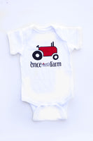 White Tractor One-Piece Snap Tee