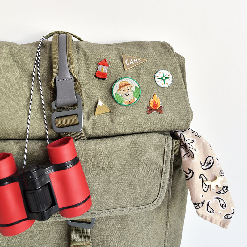 Add a red camp lantern embroidered sticker patch to your pack for instant adventure vibes.