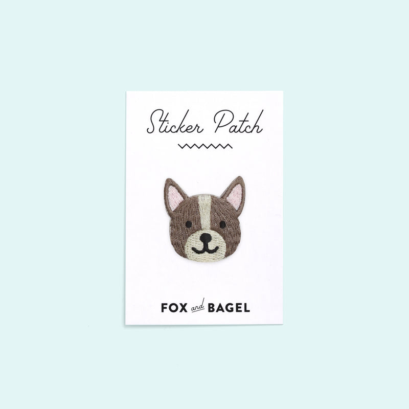Boston Terrier dog embroidered sticker patch by Fox & Bagel.