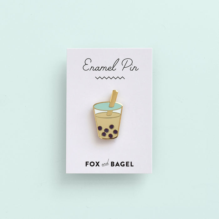 Bubble tea, boba, milk tea, tapioca hard enamel pin by Fox & Bagel.