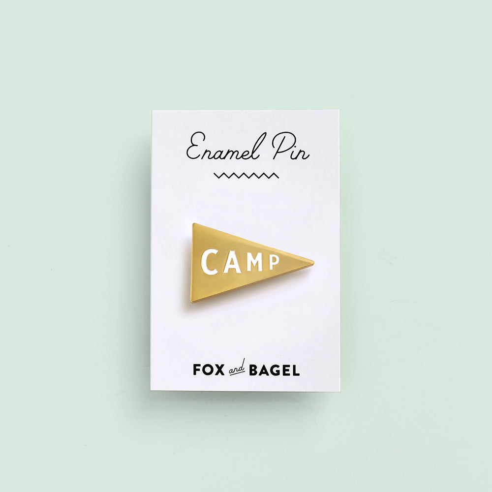 Camp pennant enamel pin by Fox & Bagel for instant camping vibes.