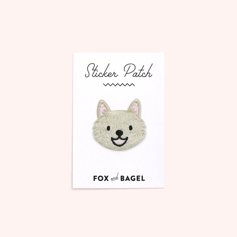 American Eskimo Japanese Spitz dog embroidered sticker patch by Fox & Bagel.