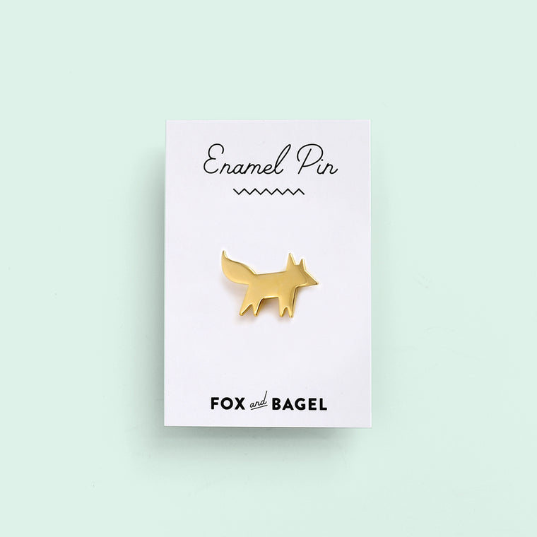 Gold fox friend enamel pin by Fox & Bagel.