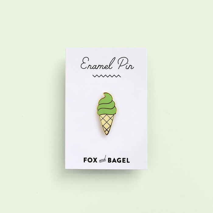Matcha green tea ice cream soft serve. Japanese dessert. Hard enamel pin by Fox & Bagel.