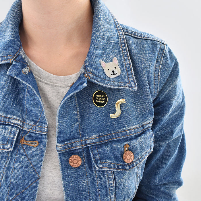 French bulldog, Frenchie dog embroidered sticker patch by Fox & Bagel looks great on a jean denim jacket.