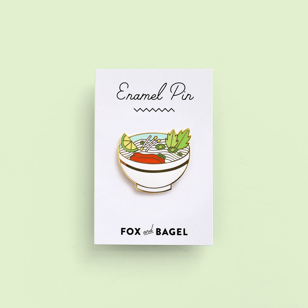 Vietnamese pho tai beef noodle soup hard enamel pin by Fox & Bagel.