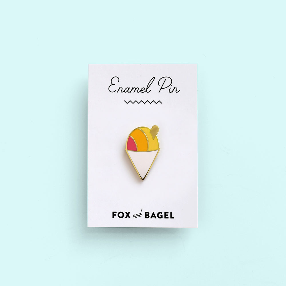 Hawaii, Hawaiian, shave ice, shaved ice, snow cone enamel pin by Fox & Bagel.