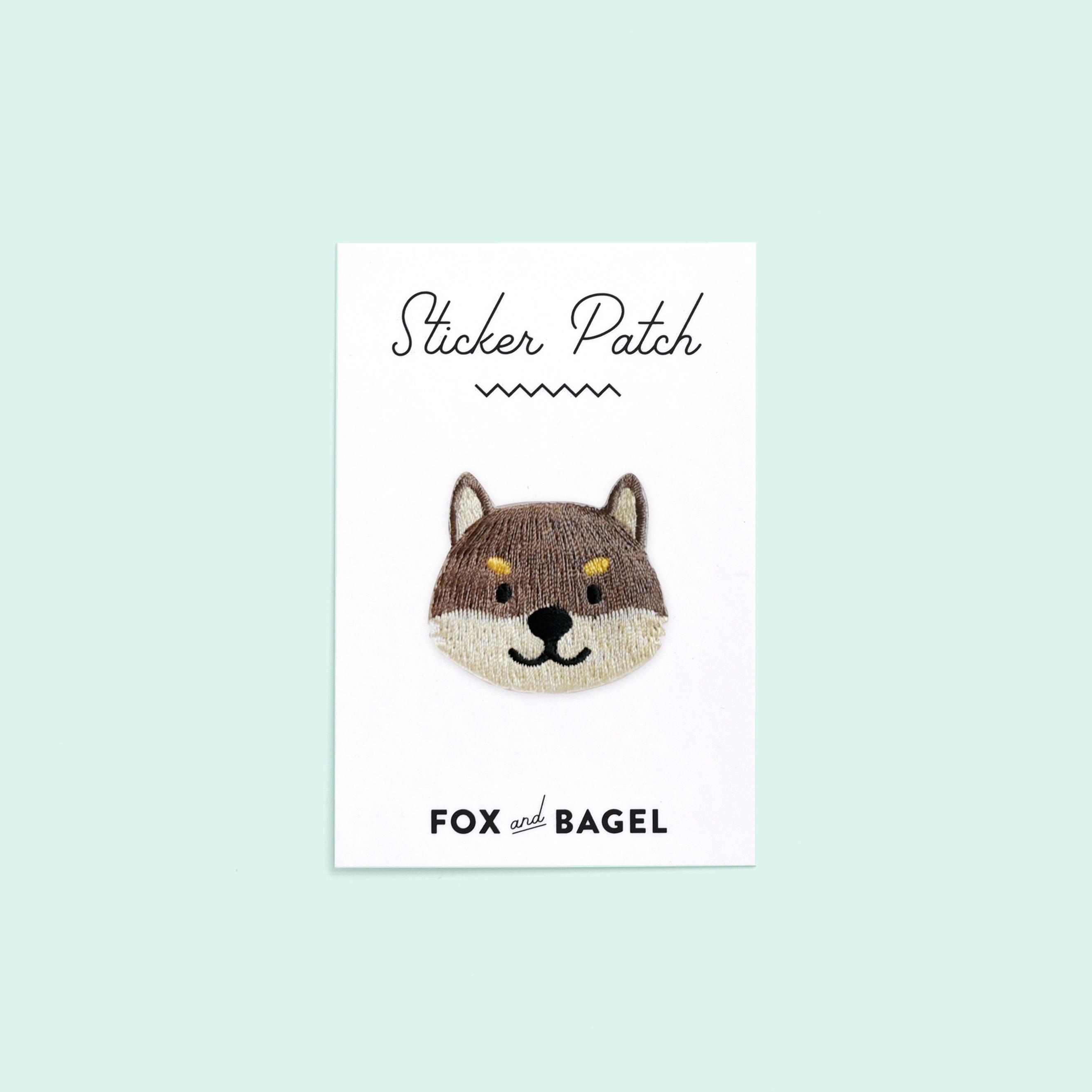 Black & Tan Shiba Inu embroidered sticker patch by Fox & Bagel.