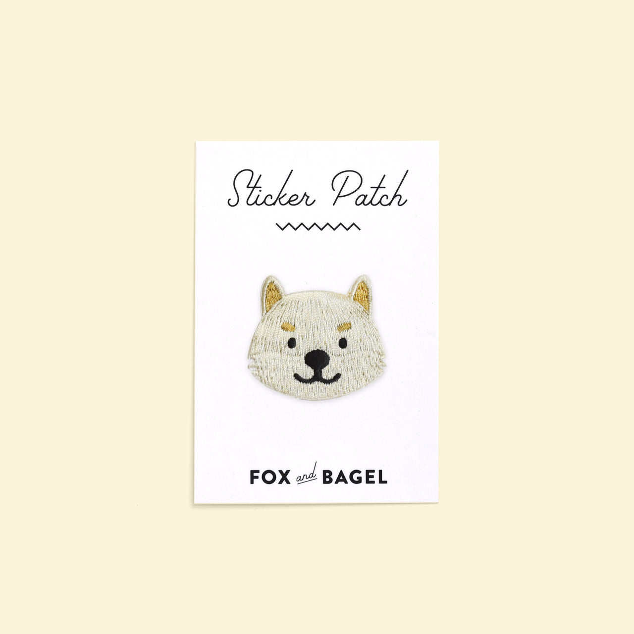 Cream Shiba Inu dog embroidered sticker patch by Fox & Bagel.