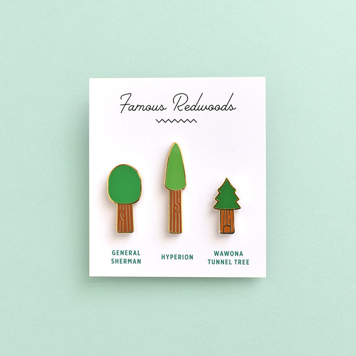 Famous redwood trees (General Sherman, Hyperion, Wawona Tunnel Tree) hard enamel pin set by Fox & Bagel.