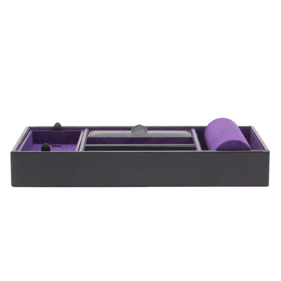 WOLF Blake Watch Valet Tray With Cuff - Black/Purple