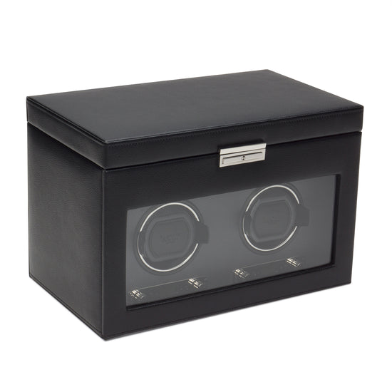 WOLF Viceroy Double Watch Winder with Storage - Black