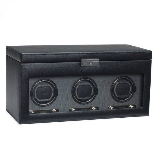 WOLF Viceroy Triple Watch Winder with Storage - Black