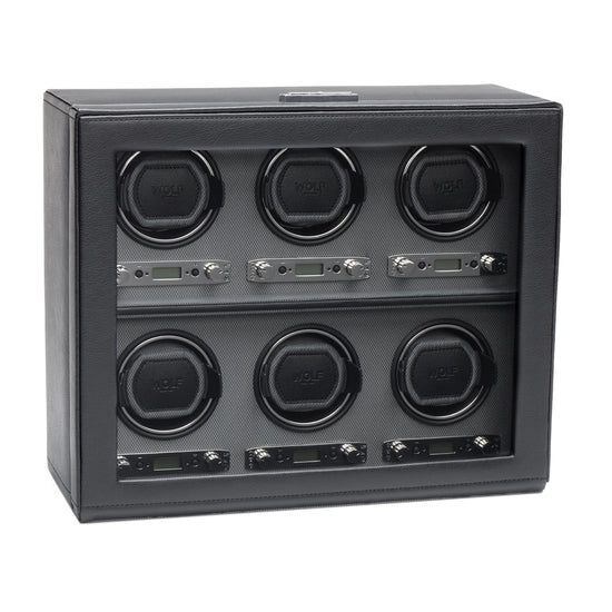 WOLF Viceroy 6 Piece Watch Winder - Black