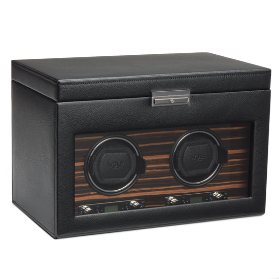WOLF Roadster Double Watch Winder with Storage - Black