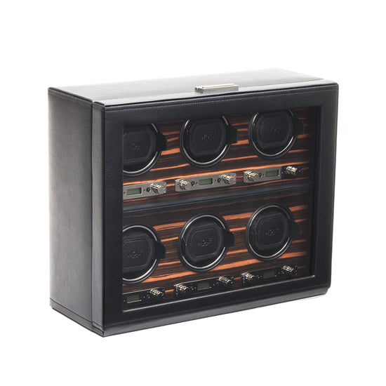 WOLF Roadster 6 Piece Watch Winder - Black