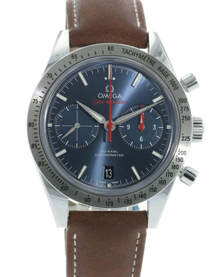 OMEGA 57 Coaxial Blue Face on Brown Leather 331 12 42 51 03 001