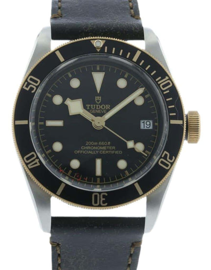 Tudor Heritage Black Bay Gold Bezel on Leather 79733N