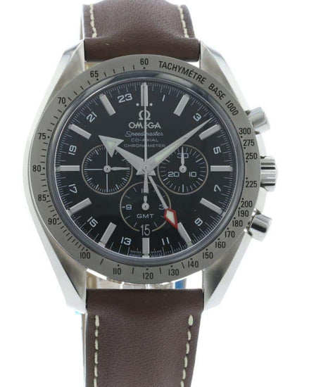 OMEGA Broad Arrow GMT Black Face Leather Strap 3881.50.37